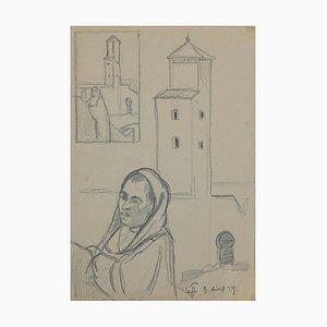 Helen Vogt, Figuren und Häuser in Marokko, Original Bleistift, 1930er