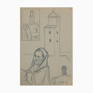 Helen Vogt, Figures and Houses in Morocco, Original Pencil, 1930
