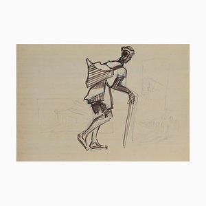 Helen Vogt, Marokkanischer Originaler Bleistift und Tinte, 1930er