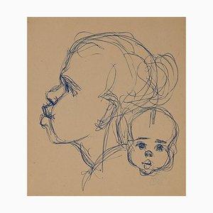 Helen Vogt, Femme avec Enfant au Maroc, Encre Originale, 1930s