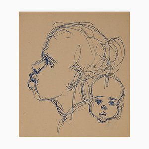 Helen Vogt, Woman with Child in Morocco, Original Ink, 1930s