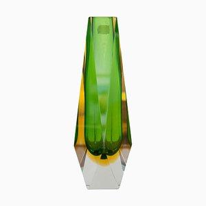Grüne Handbemalte Murano Glasvase von Flavio Poli für Mandruzzato, 1960er