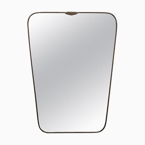 Brass Shield Form Mirror in the Style of Gio Ponti, Italy, 1950s