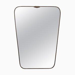 Spiegelförmiger Messing Spiegel im Stil von Gio Ponti, Italien, 1950er