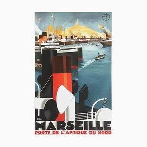 Affiche Marseille porte de l'Afrique du Nord par Roger Broders