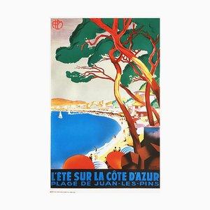 L'été sur la Côte d'Azur - Juan les Pins Print by Roger Broders