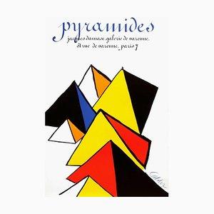 Poster Expo 80 - Galerie Jacques Damase Pyramides par Alexander Calder