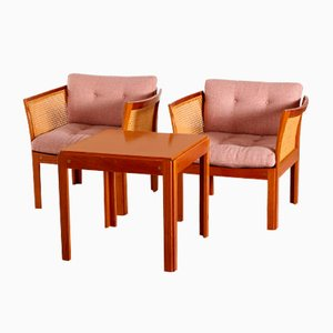 Mahogany Chairs & Coffee Table Set by Illum Wikkelsø for Silkeborg
