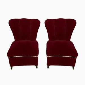 Art Nouveau Italian Red Velvet Toadstool Lounge Chairs,1900s, Set of 2