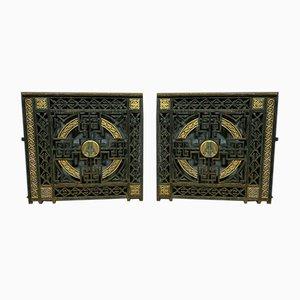 Art Deco Bronze and Iron Doors, 1920s, Set of 2