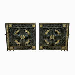 Porte Art Déco in bronzo e ferro, anni '20, set di 2