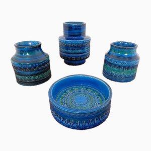Italian Rimini Blu Ceramic Vases & Bowl by Aldo Londi for Bitossi, 1960s, Set of 4