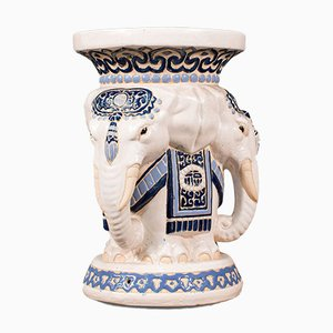 Ceramic Elephant Jardiniere Stand / Stool, 1930s