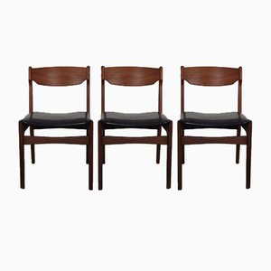 Danish Solid Teak Dining Chairs, 1960s, Set of 3