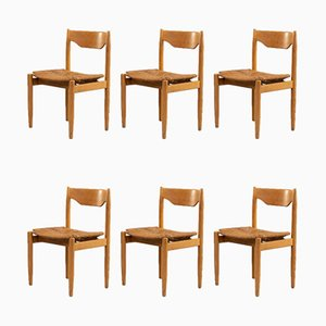 Wicker and Wood Dining Chair Set, 1970s, Set of 6
