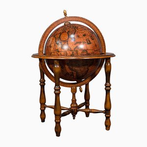 Large Beech Rotating Terrestrial Globe, 1970s