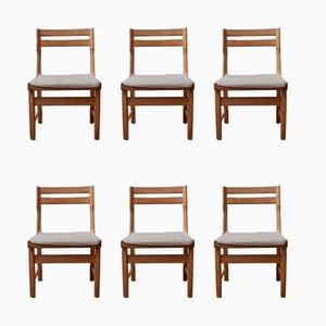 Mid-Century French Oak Dining Chairs by Guillerme et Chambron, Set of 6