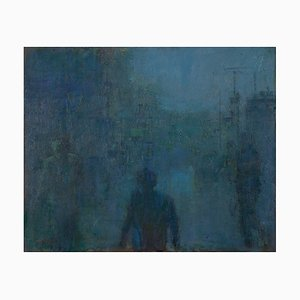 Renato Criscuolo, Fog in Town, Oil on Canvas