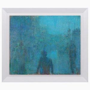 Renato Criscuolo, Fog in Town, Oil on Canvas