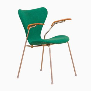 Mid-Century 3207 Butterfly Chair with Teak Armrests & Original Green Upholstery by Arne Jacobsen for Fritz Hansen