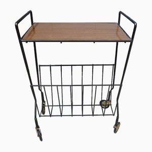 Mid-Century Side Table with Magazine Rack