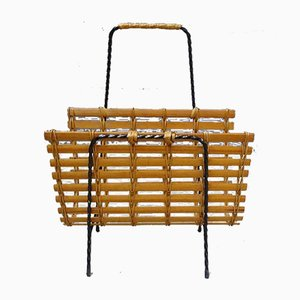 Rattan and Iron Magazine Rack, 1960