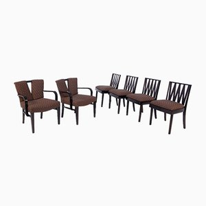 Corset & Zig Zag Chairs by Paul Frankl for Johnson Furniture, Set of 6
