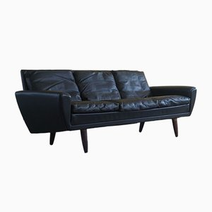 Danish Black Leather Sofa on Rosewood Legs by Georg Thams, 1964