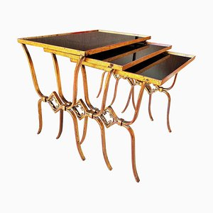 French Art Deco Glass & Gold Stacking Tables, 1940, Set of 3