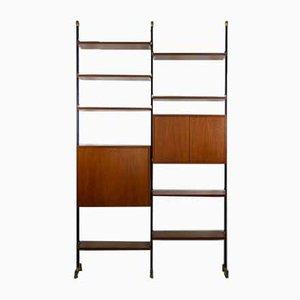 Librería de madera y metal con estantes y compartimentos, años 50