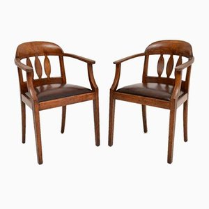 Antique Arts & Crafts Solid Oak Armchairs, Set of 2