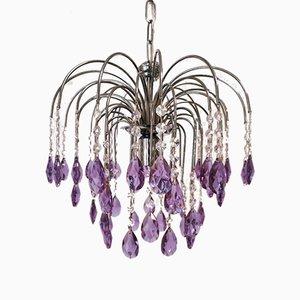 Lampadario lilla in cristallo