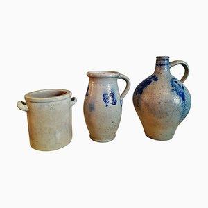 Cerámica de cerámica Bauer, siglo XIX esmaltada en sal. Juego de 3