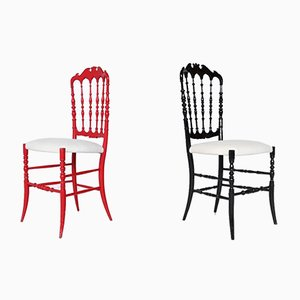 Italian Side Chairs by Giuseppe Gaetano Descalzi for Chiavari,1950s, Set of 2