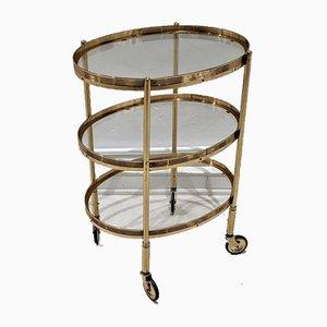 Carrito de servicio vintage dorado de Maison Jansen
