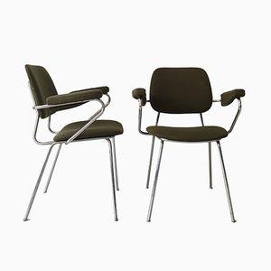 Waldgrüne Armlehnstühle mit Rohrgestell, 1960er, 2er Set