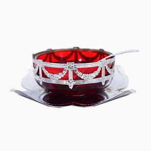 English Art Nouveau Silver Metal and Glass Sugar Bowl