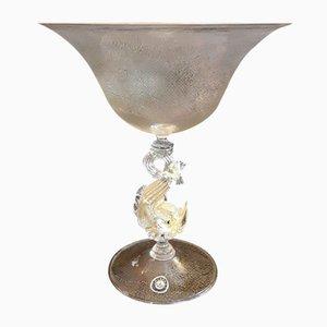 Frutero vintage o taza de vidrio con base figurativa, años 60