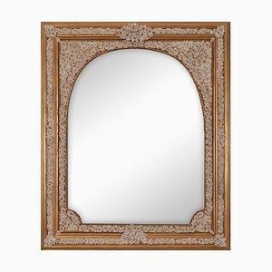 Espejo Arco Fiorito vintage con marco de madera y porcelana