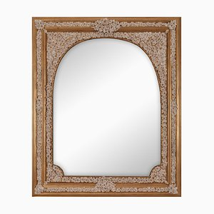 Vintage Arco Fiorito Spiegel mit Porzellan & Holzrahmen