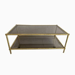 French Faux Bamboo, Mirrored Brass & Smoked Glass Two-Tier Coffee Table by Maison Baguès, 1960s