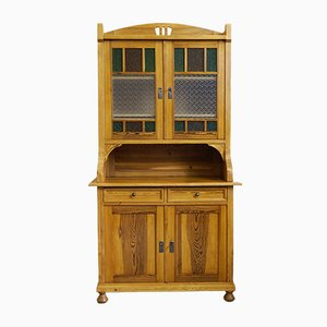 Art Nouveau 2-Piece Buffet with Colorful Glass Inserts, 1910s