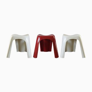 Italian Plastic Stools by Giorgina Castiglioni for Bilumen, 1970, Set of 3