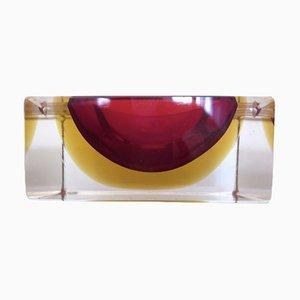 Italienischer Rechteckiger Murano Glas Aschenbecher von Flavio Poli für Seguso, 1960er