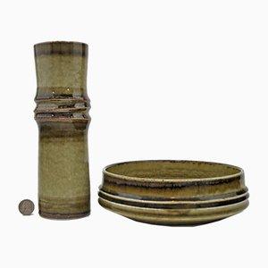 Bambus Vase und Schale von Olle Alberius für Rörstrand, 1960er, 2er Set