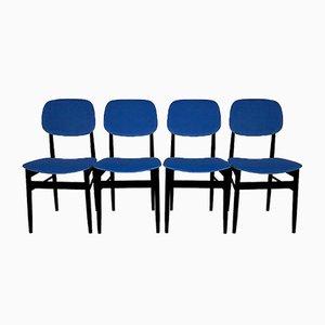 Blaue italienische Mid-Century Stühle aus Samt, 4er Set