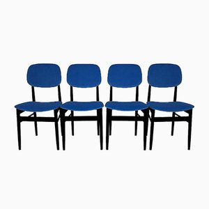 Mid-Century Italian Blue Velvet Chairs, Set of 4