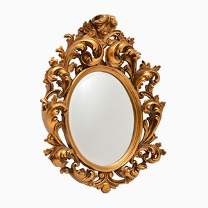 Espejo francés estilo Rococó antiguo de madera dorada