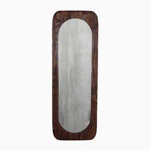 Espejo de pared escandinavo grande de madera, años 50