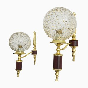 Golden Glass and Teak Sconces, Set of 2